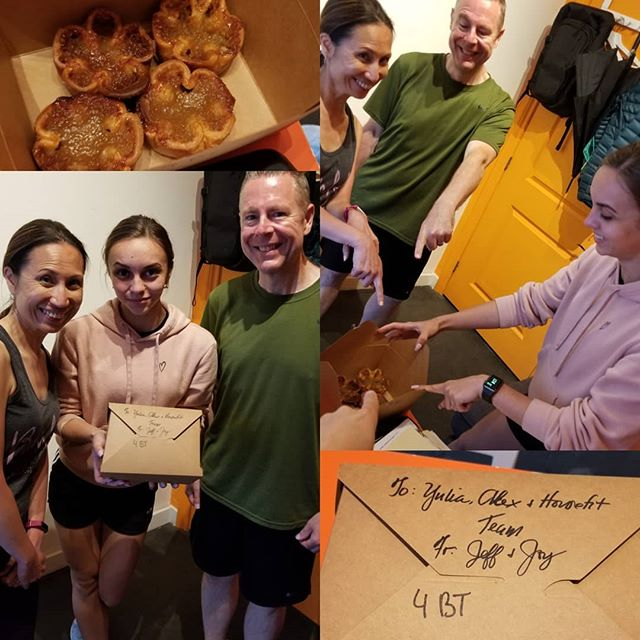 Client love through Muskoka butter tarts! Congratulations Joy and Jeff for finishing fatloss!  Joy lost 34lbs and Jeff 67lbs in 15 weeks!  Great job and many thanks for the delicious treats! Special shoutout to Trainer Yulia for the great results! 👏👏👏😊😊😊👍👍👍 . . . . . .  #housefit_toronto #clientlove #buttertarts #congratulationsJoyandJeff #northyorkpersonaltrainer #personaltraining #nutrition  #personaltrainingtoronto #personaltrainer #torontotrainer #torontogyms #the6 #toronto #torontolife #yyz #thesix #tdot #416 #northyork #beforeandafter #weightloss #exercise #train #diet #the6ix #fitness #instagram  #weightlosstransformation #transformation #gta