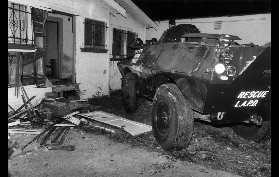 The Los Angeles Police Department battering ram was use for police raids. Daryl Gates was the first to take steps towards militarizing city police equipment. Photo: Jack Gaunt/LA Times
