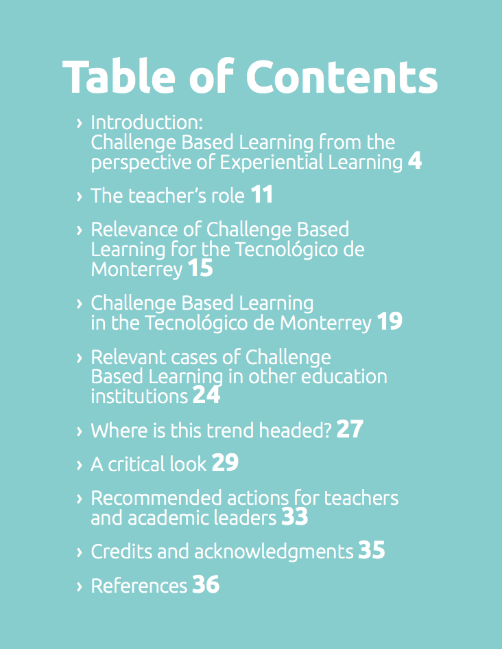 Challenge Based Learning Table of Contents