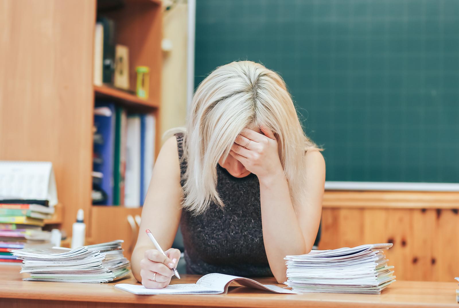 Teacher frustration evaluating tests at school