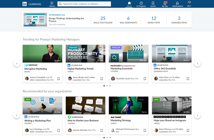 LinkedIn Learning Interface.