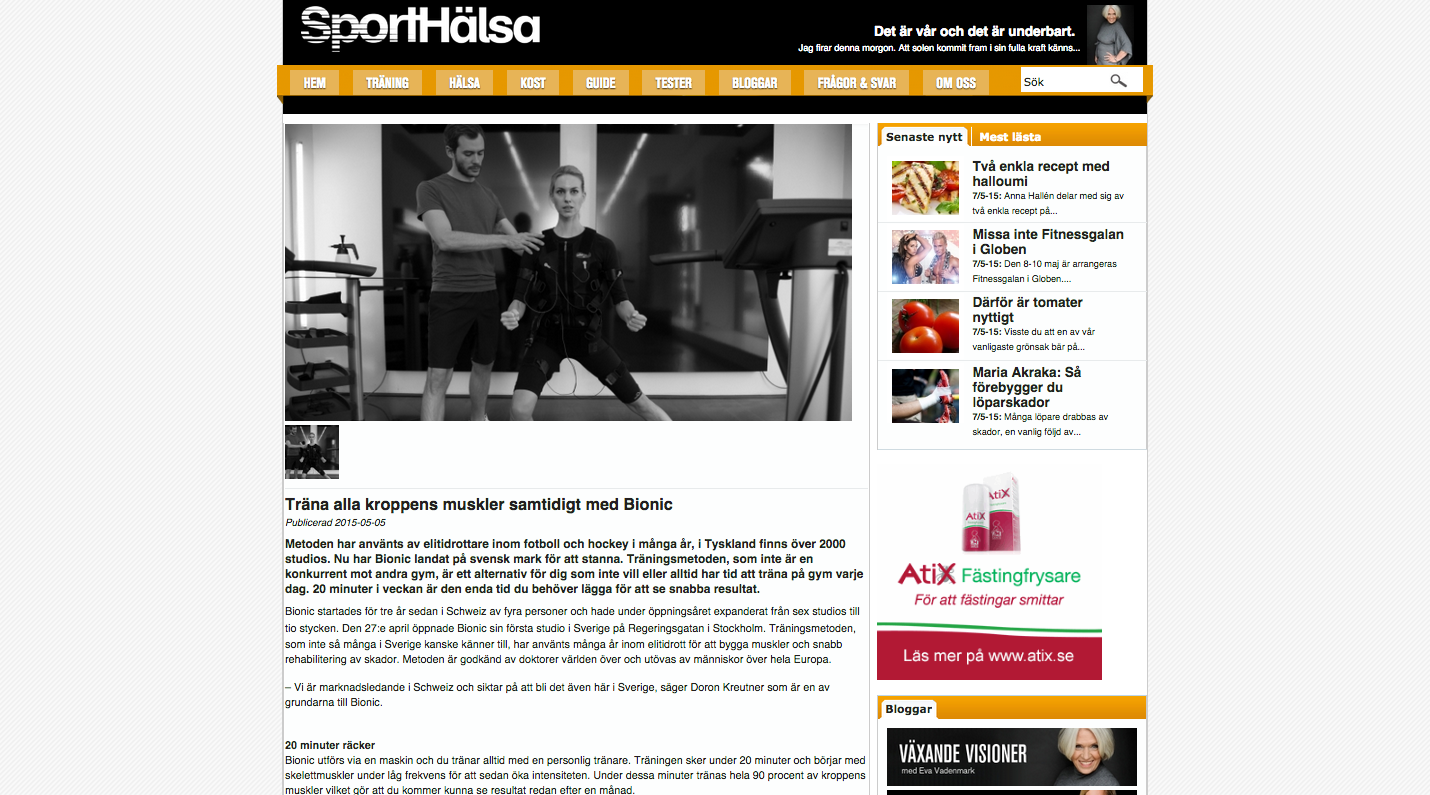 Read the Swedish article and interview  here .