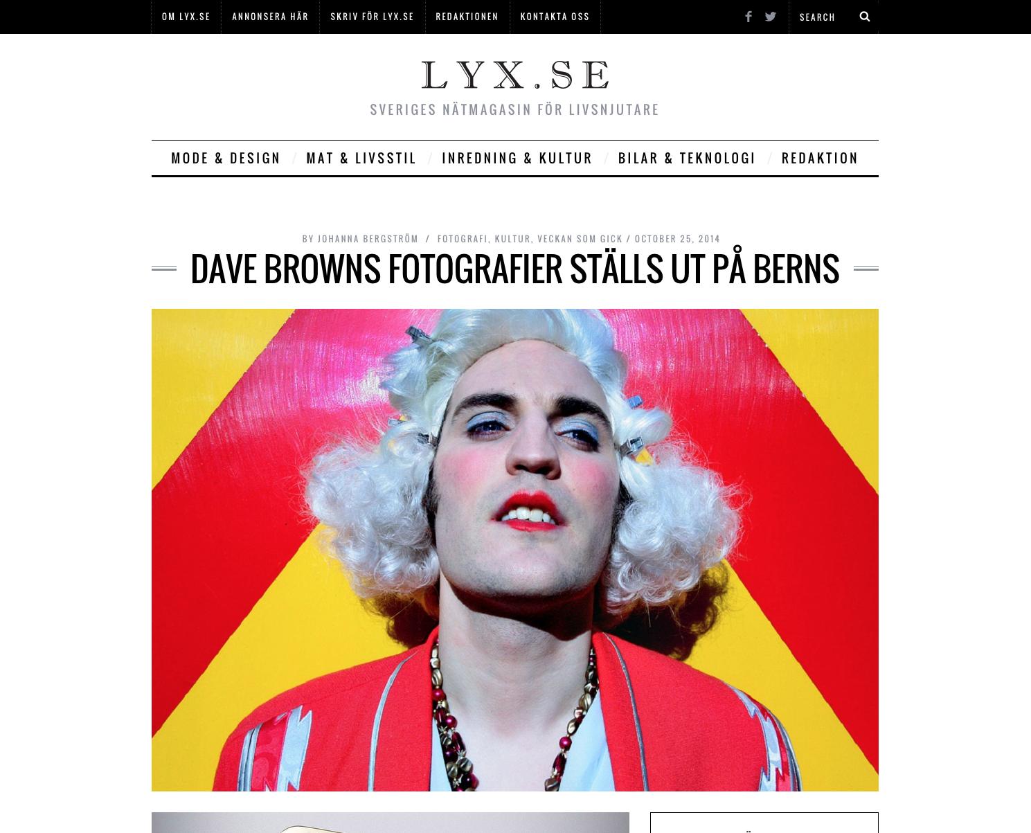 LYX, 2014   Komikern och fotografen Dave Brown ställer ut på Berns
