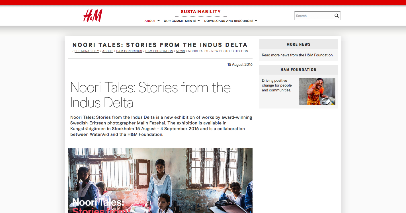 H&M Foundation   http://sustainability.hm.com/en/sustainability/about/hm-conscious/hm-conscious-foundation/news/noori-tales-stories-from-the-indus-delta.html