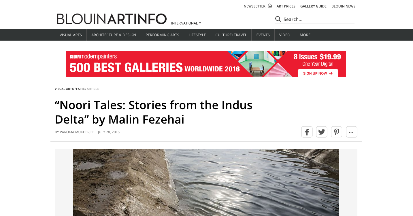 BLOUINARTINFO   http://www.blouinartinfo.com/news/story/1468861/noori-tales-stories-from-the-indus-delta-by-malin-fezehai