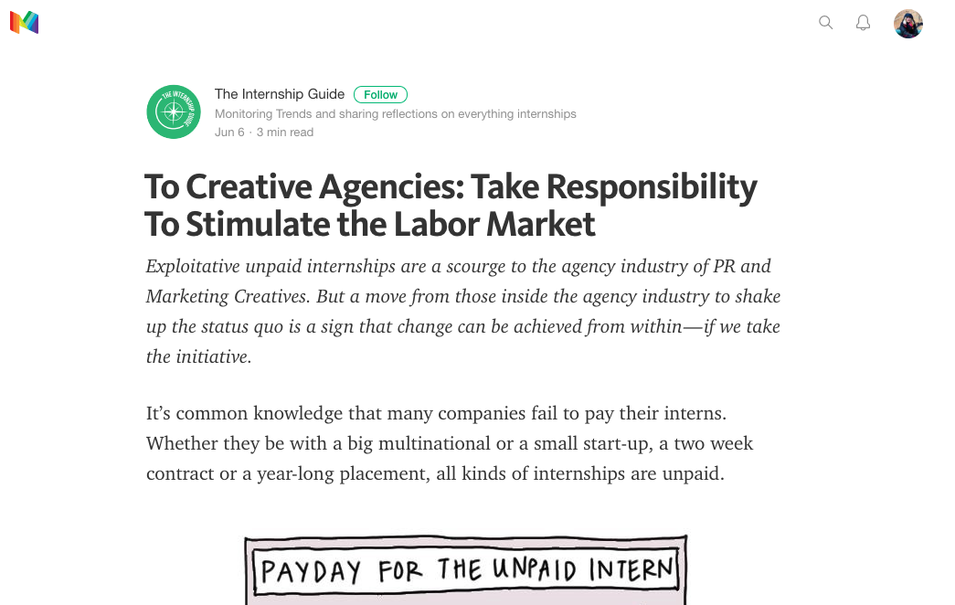 https://medium.com/@theinternshipguide/to-creative-agencies-take-responsibility-to-stimulate-the-labor-market-c12cc6d7439b