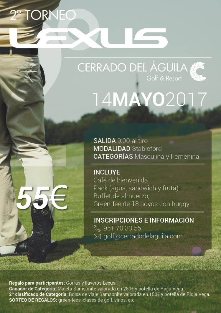 Cartel 2 Torneo Lexus del cerrado del Águila Golf and Resort