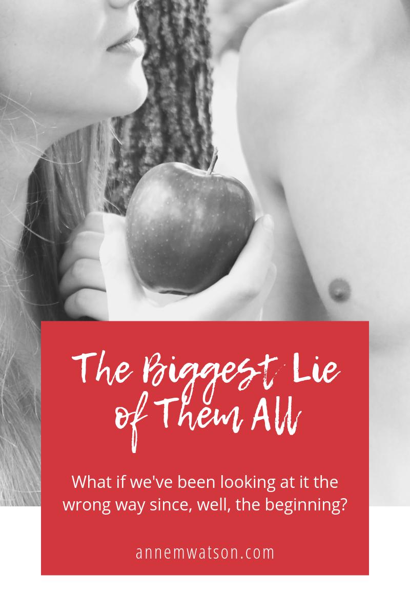The biggest lie image of a woman handing a man an apple.