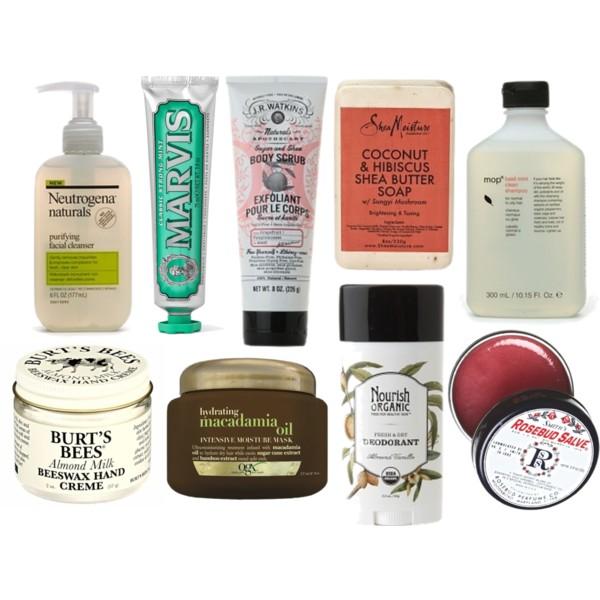 Neutrogena Naturals Cleanser  //  MARVIS Toothpaste  //  J.R. Watkins Body Scrub  (under $10 at Publix) //  Shea Moisture Body Bar  //  MOP Mint & Basil Shampoo  //  Burt's Bees Hand Crème  //  OGX Hair Mask  //  Nourish Deodorant  //  Smith's Rosebud Salve // Not pictured:  Spectrum Coconut Oil