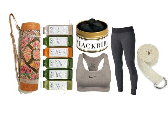 Free People   Yoga Mat  //  FINN Cold Press  //  Blackbird Incense  //  Nike Sports Bra  //  Roxy   Leggings  //  Gaiam Strap
