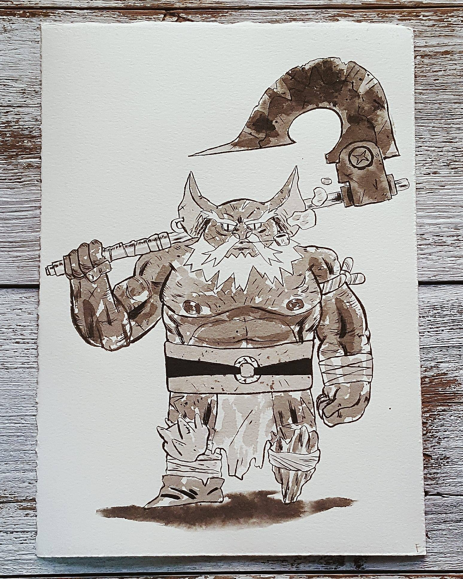 A Knight a Day No. 14, Givuk the Brute - He rose quickly through the ranks of the goblin army to become a commanding officer. A solid wall of muscle and anger that will drive a path through even the thickest of enemy lines. He's so brazen that he wears little more than trousers and boots into battle, wielding his giant war axe.
