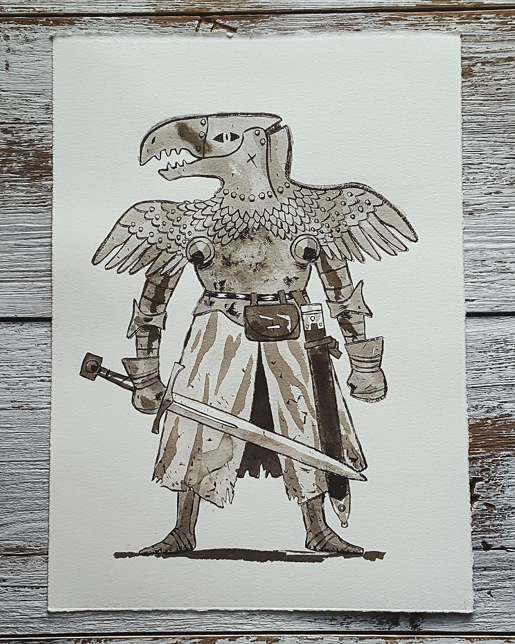 A Knight a Day No. 17, The Eagle Knight - A legendary knight who gained his fame after being the sole survivor of a party that was sent to battle and defeat a gargantuan, mystical bird. He used the bones of the bird to forge an enchanted armor which would make him one of the most formidable knights in the land.
