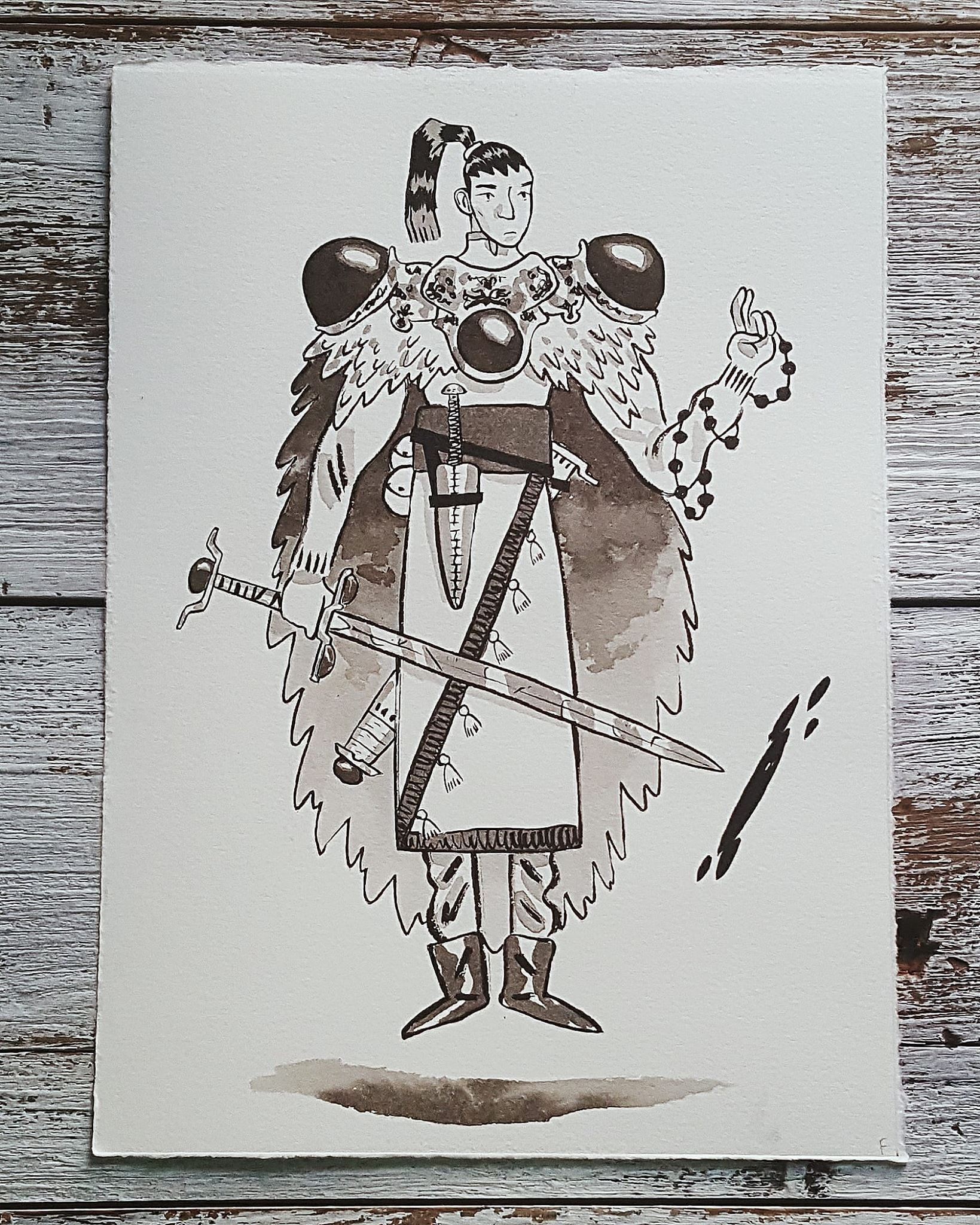 A Knight a Day No. 24, Swordsman of the Pale - The Pale is a wispy, shadowy dimension that weaves in and out of the physical world. This swordsman trained for many years to be able to open portals to the Pale. When he steps into it, he can observe the goings of the physical world without being seen. He uses his abilities to operate as an assassin and political informant.
