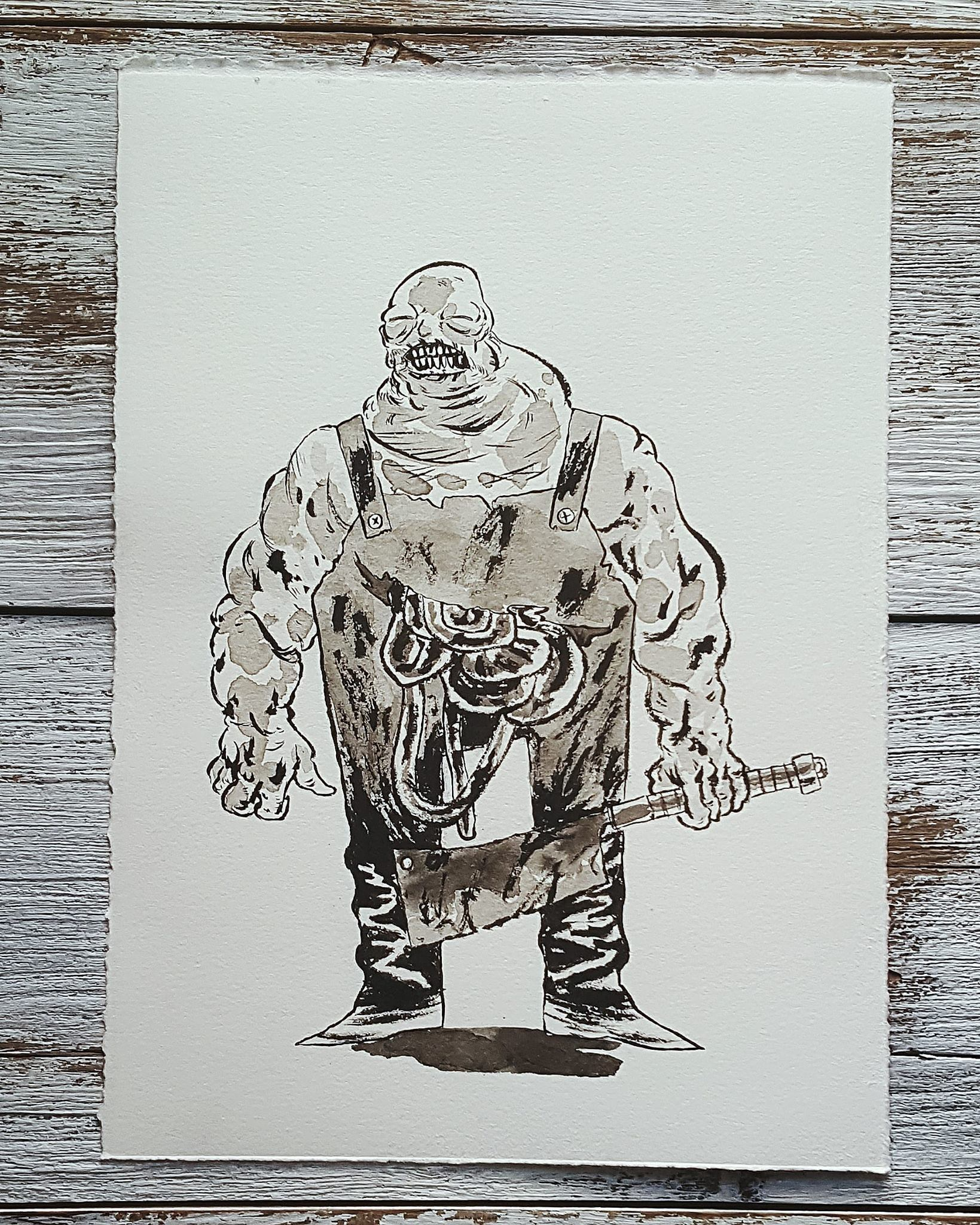 A Knight a Day No. 27, Bloated Butcher - A butcher who was drowned in a bog when he tried to protect villagers from raiders. His wet, bloated spirit wanders the land where his village used to be, ready to protect the innocent from harm.