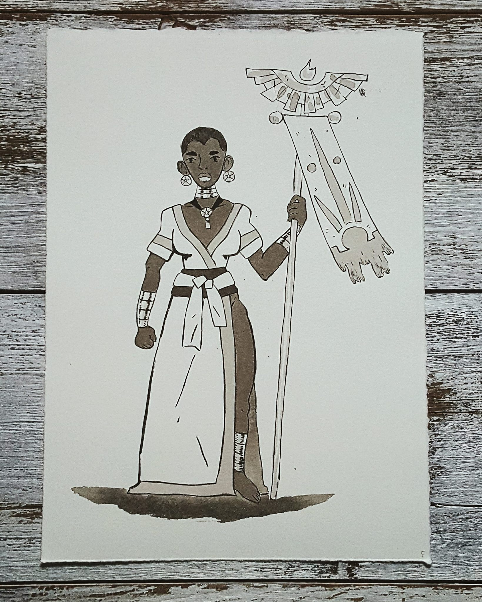 A Knight a Day No. 29, Sun Priestess - One of the most powerful magicians in the world. She cares after the monuments that her Gods spirits dwells in. She can destroy or give life with the powerful sun fire that spits from her staff.