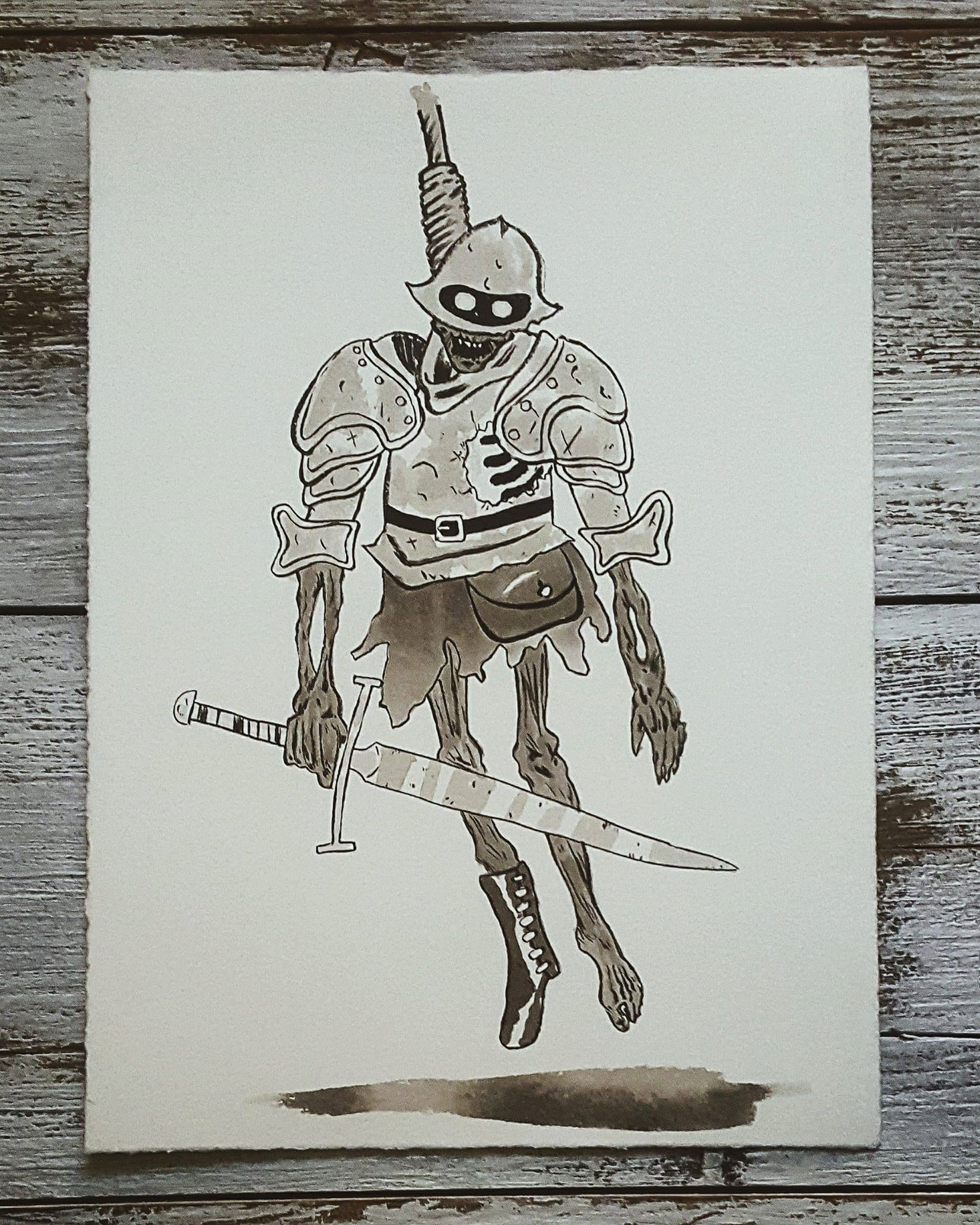 A Knight a Day No. 32, The Hanged Knight - Solomon tried to thwart a military coupe and protect his king. When he was defeated by the rebels, they hanged him from the highest tower in the castle. Now he haunts the halls, trying even in death to keep the king safe.