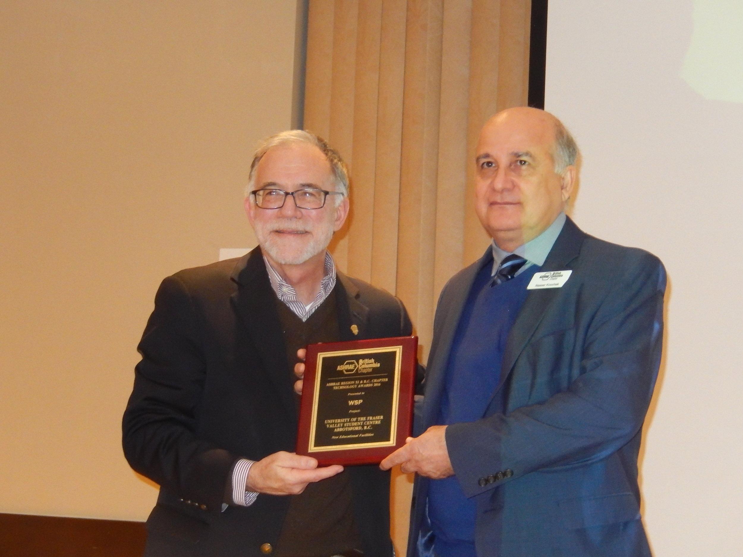 Tim Wentz, Nasser Koochek Technology Award.jpg