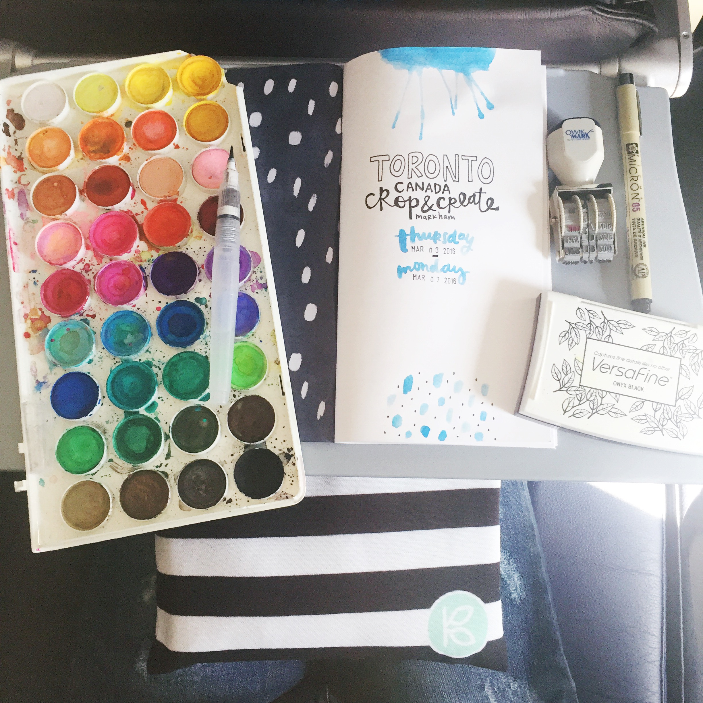 Crafting on the tray table