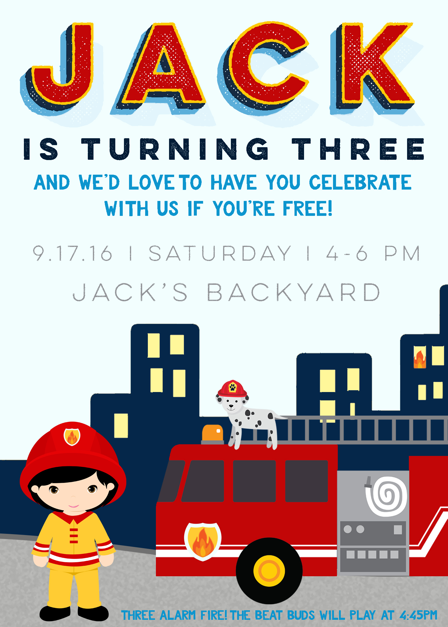 Custom Firetruck Party invite