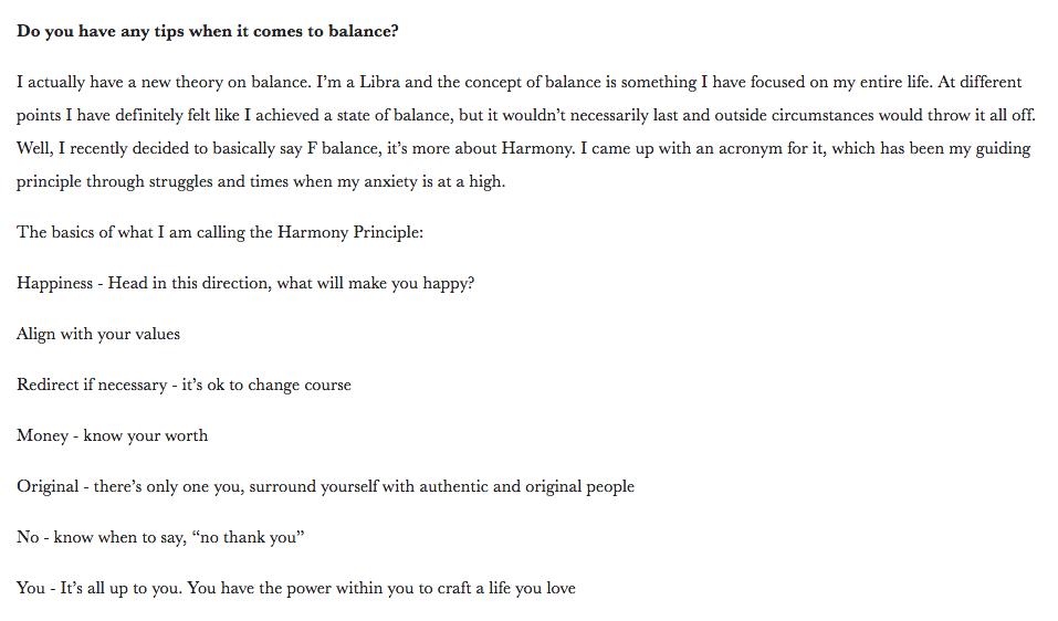 Amy Tangerine's Harmony Principle