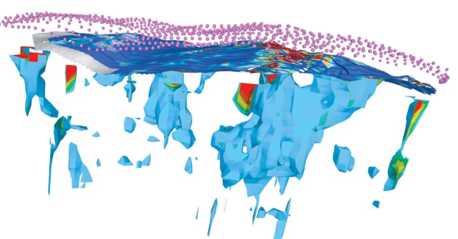 Geophysical model of Solwara 1   EM and Bathymetric data and models:OFG for Nautilus Minerals  Magnetic data: M. Tivey et al., WHOI   3D Magnetic Inversion: OFG