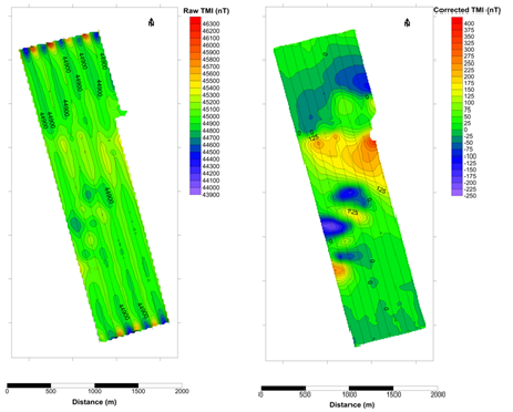 Raw uncorrected magnetic intensity collected on an AUV (left) and same data with the OFG SCM algorithms applied to output corrected magnetic intensity (right)
