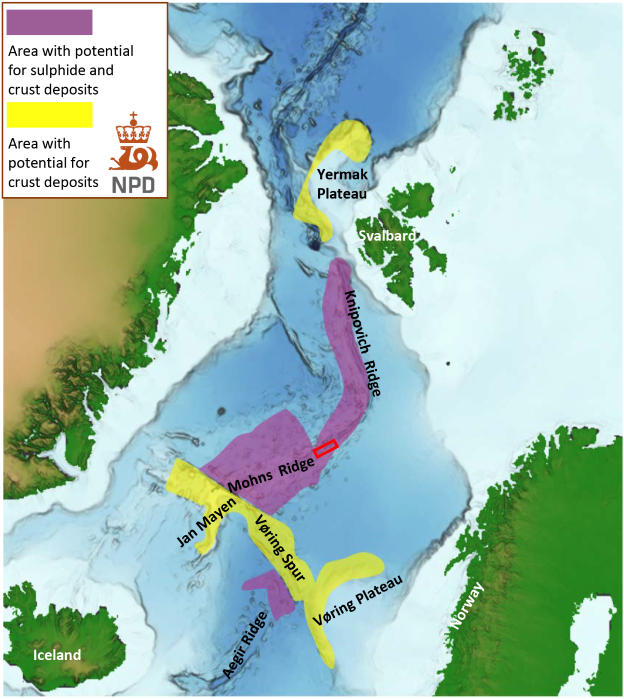 Mapping area (red square) in the central part of the Mohn ridge in the Norwegian Sea. The map also shows potential areas for seabed minerals such as sulphides and crusts.