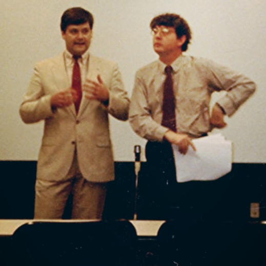 """Hagen and Muldoon explain their plans for """"Shining Brow"""" to the commissioners in 1989."""