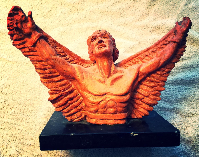 GWEN HAGEN  Icarus, My Son 1965.  Terracotta,  11 x 6 x 9