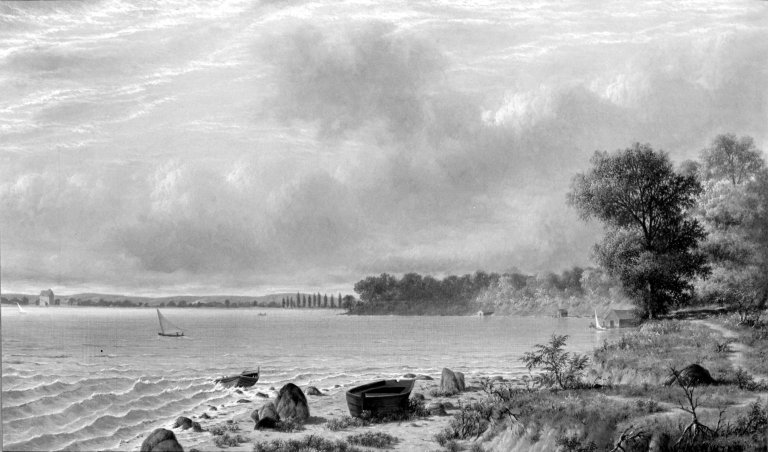JOSEPH RUSLING MEEGER  Lake Mendota , 1870-71,  oil on canvas , 45 x 76.