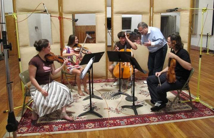 Hagen coaches the Voxare String Quartet during their String Quartet No. 1 recording session.