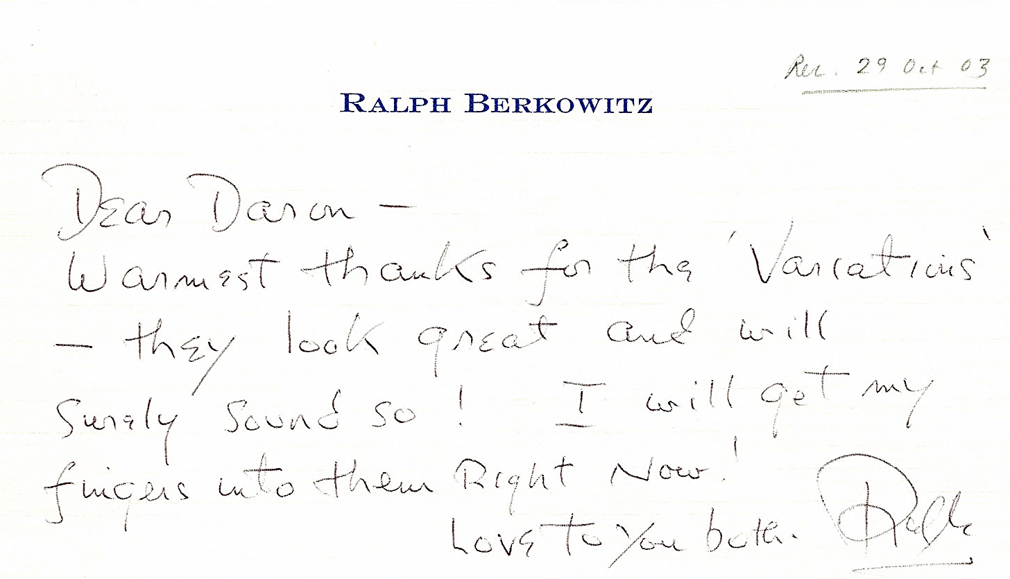 Ralph thanks Daron for sending a published copy of the first Carl Fischer edition.