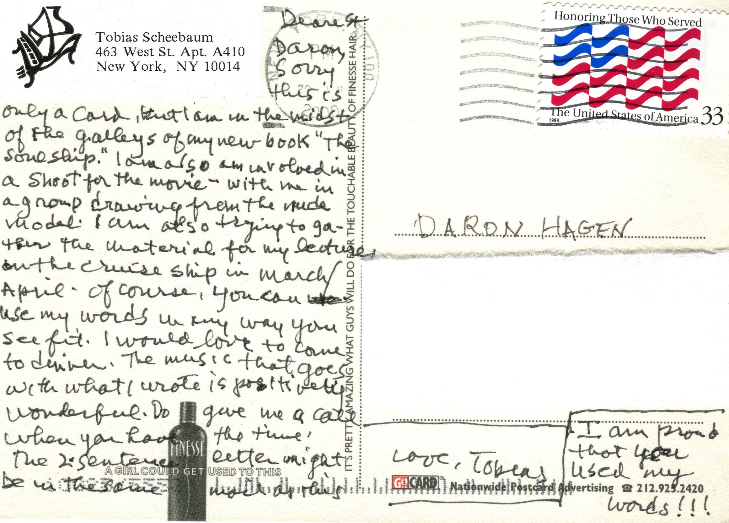 "Postcard from Tobias Schneebaum to Daron regarding the use of the remembrance, ""Life Among the Asmat,"" which he wrote at Daron's request."