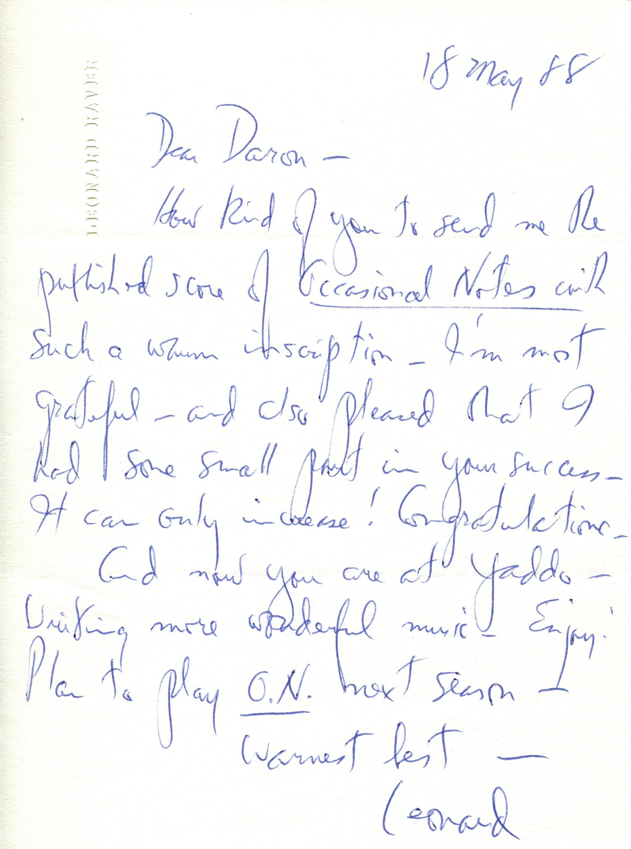 A letter from Leonard Raver to Daron about the suite, which he sent to Robert Schuneman at E.C. Schirmer with a letter urging Robert Schuneman to publish it. The piece became Hagen's first published work, and began a thirty-year relationship with Schuneman. Raver performed the piece relatively frequently over the ensuing years.