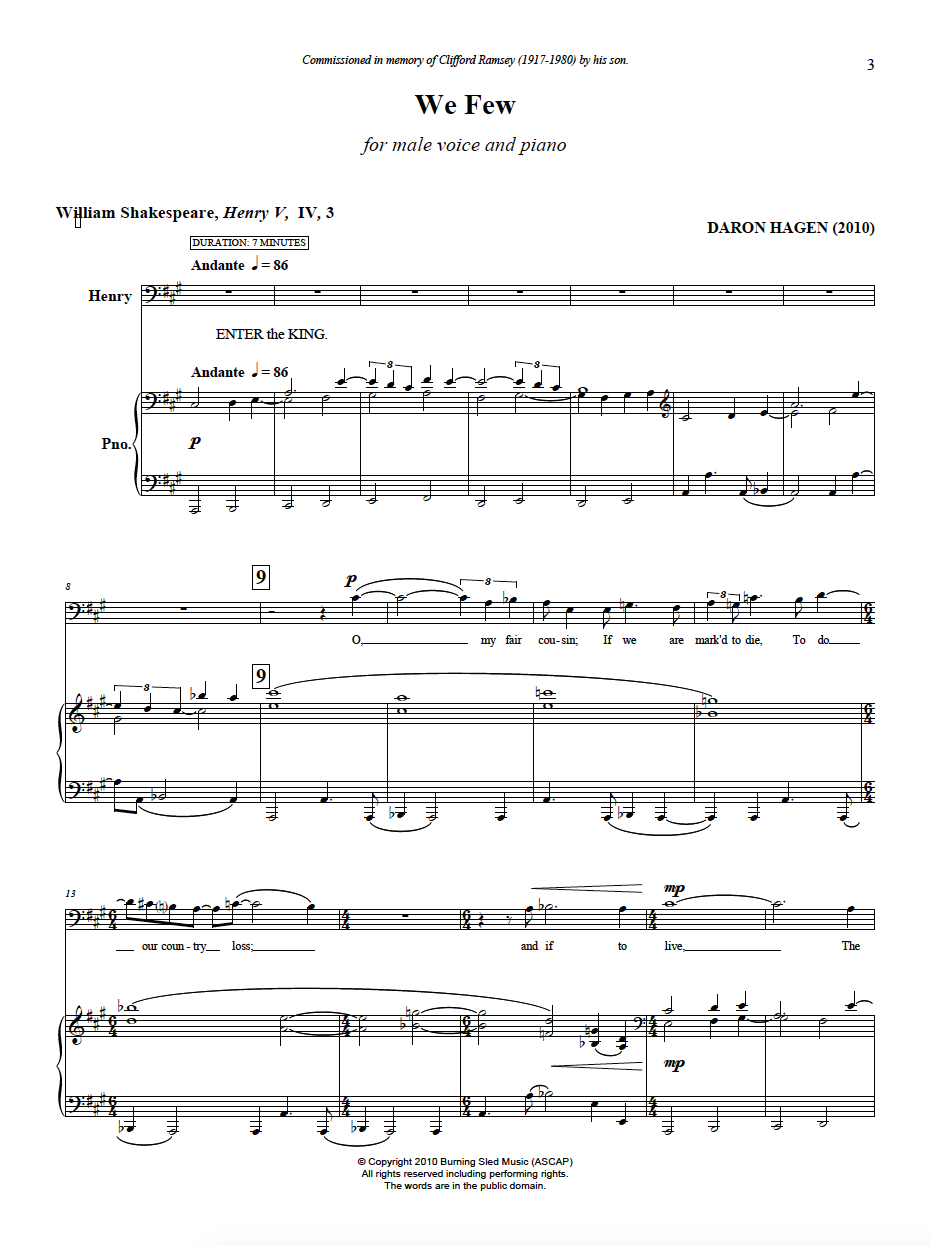 First page of the score of  We Few .