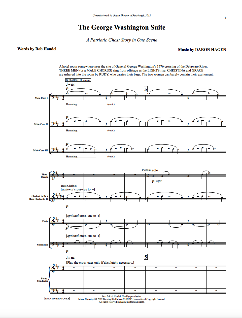The first page of the full score.