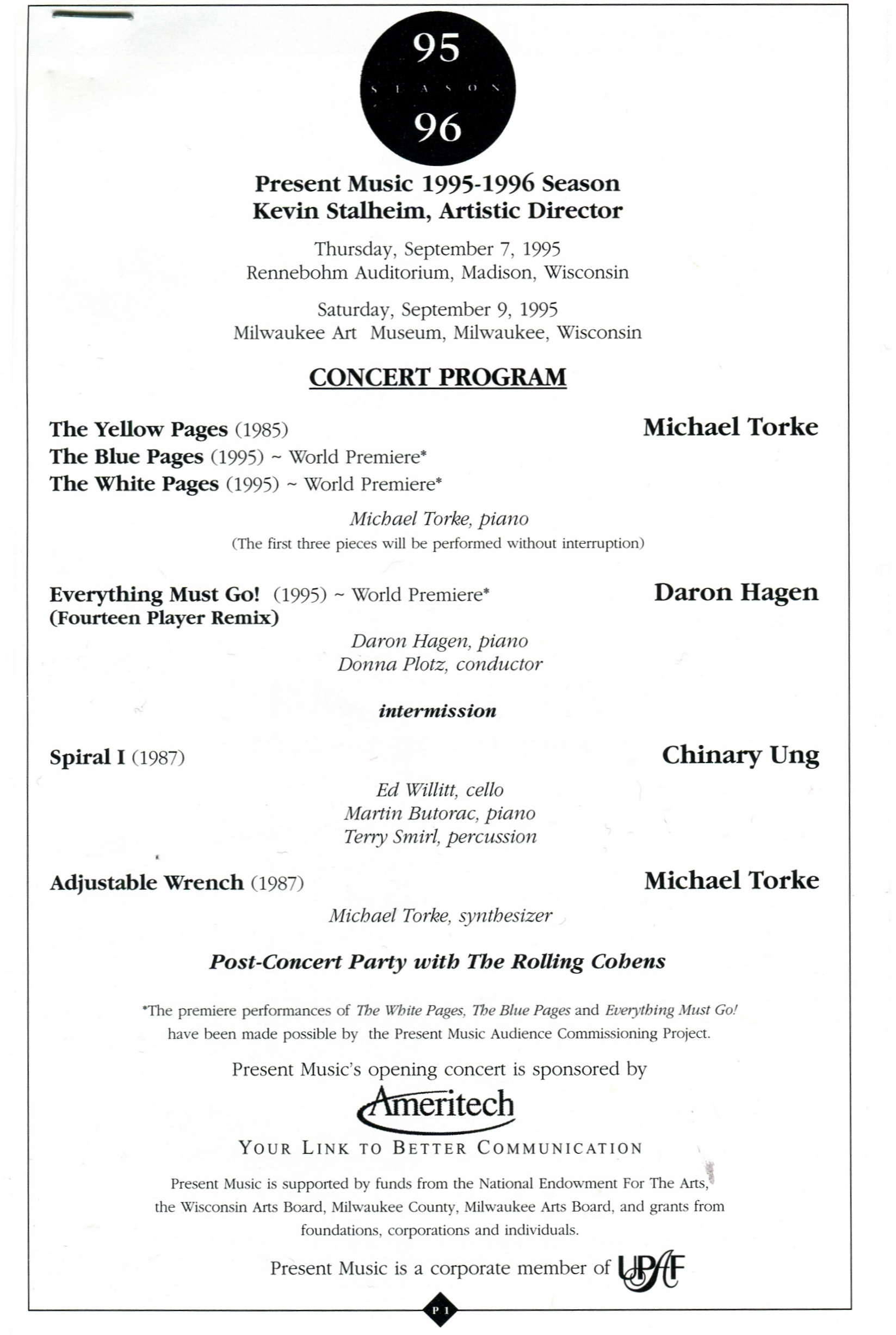 Program from the premiere.