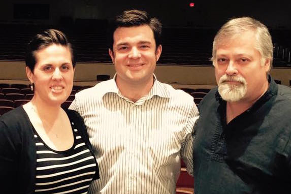 Victoria Vargas, Michael Christie, and Hagen during rehearsals of Symphony No. 5.
