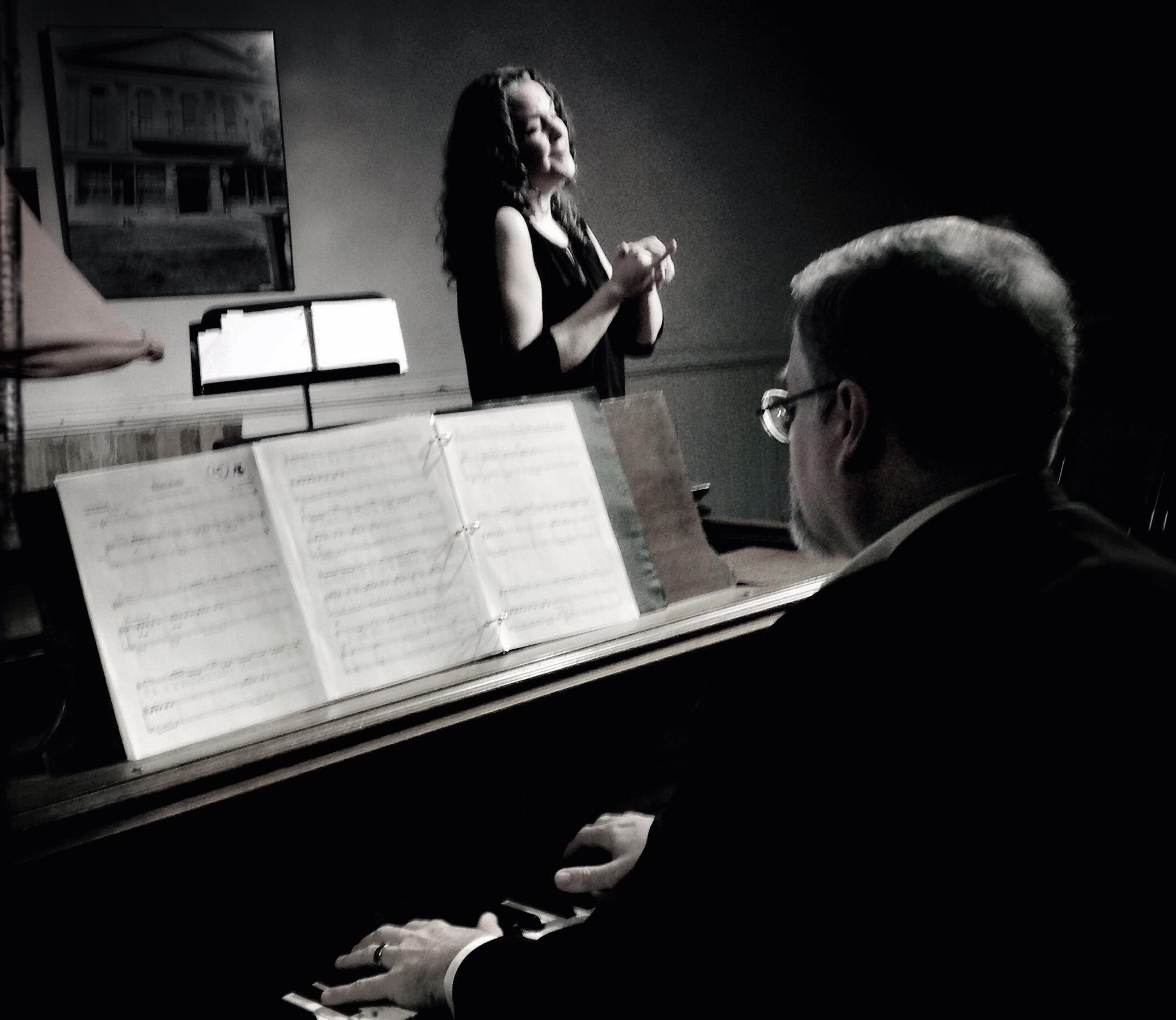 Daron Hagen accompanies Gilda Lyons at the Hudson Opera House in Hudson, NY. Spring, 2014. (Photo: Chris Lyons)