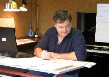 "Copying the score of ""Sappho Songs"" at Bellagio in 2004. (Photo: Gilda Lyons)"