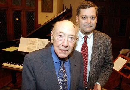 Daron and David Diamond in the music room at Yaddo a few days before Diamond's death in June 2005. (Photo: Gilda Lyons)