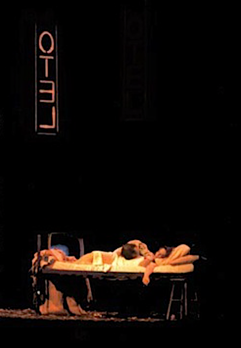 "In the final tableaux of ""Bandanna,"" Morales (Othello) strangles his wife Mona (Desdemona) and then takes his own life."