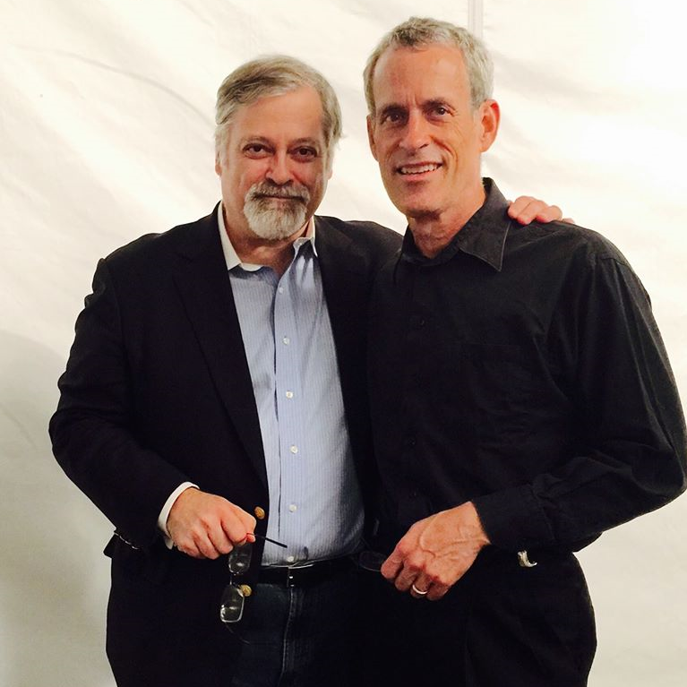 "Daron Hagen and Peter Marshall in 2015, following Marshall's premiere of ""Chaplin's Tramp,"" for chamber ensemble and piano, Hagen's Piano Concerto No. 2."