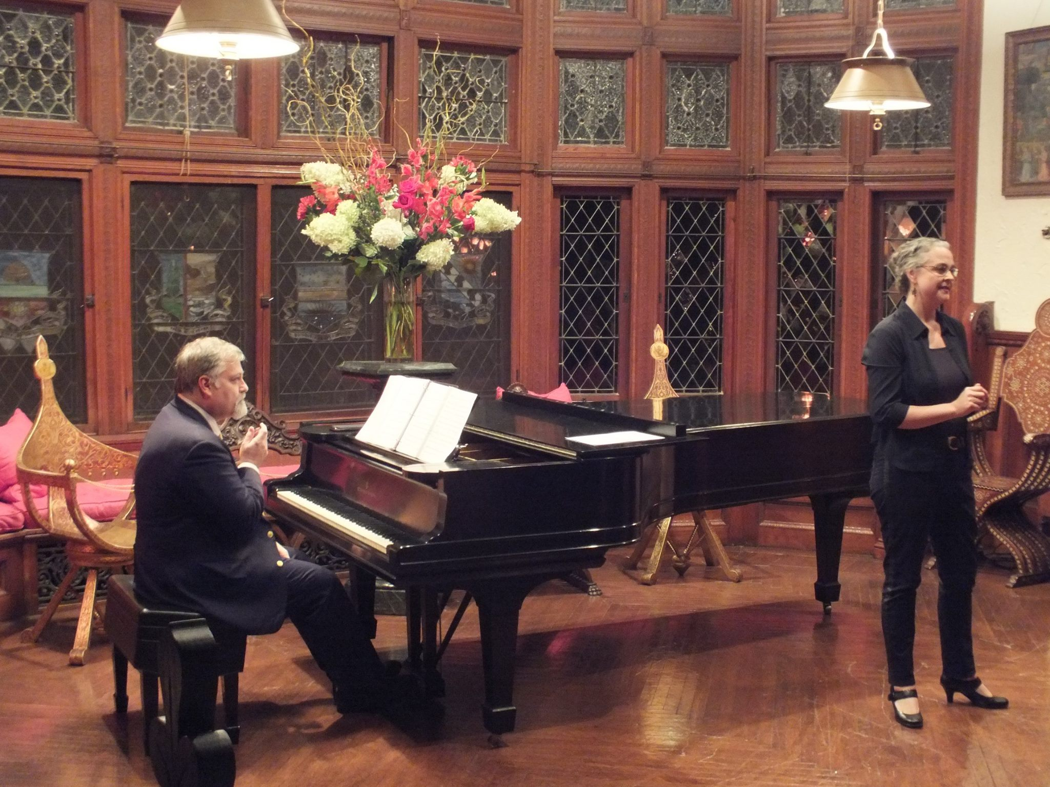 Performing with Gilda Lyons in the Music Room during the Annual Meeting. Aaron Copland premiered his Piano Variations on this exquisite instrument. (Photo credit: Angellos Ioannis Malefakis)