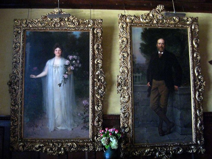 The life-sized portraits of Katrina and Spencer Trask that hang in the mansion's main hall. (Photo credit: Hagen Collection)