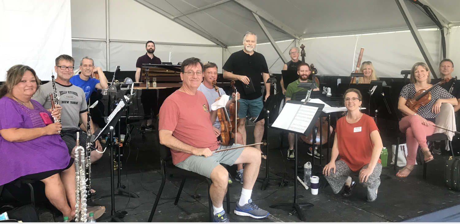 """Hagen joins Freeman and the orchestra during rehearsals of his new """"City Lights"""" score."""