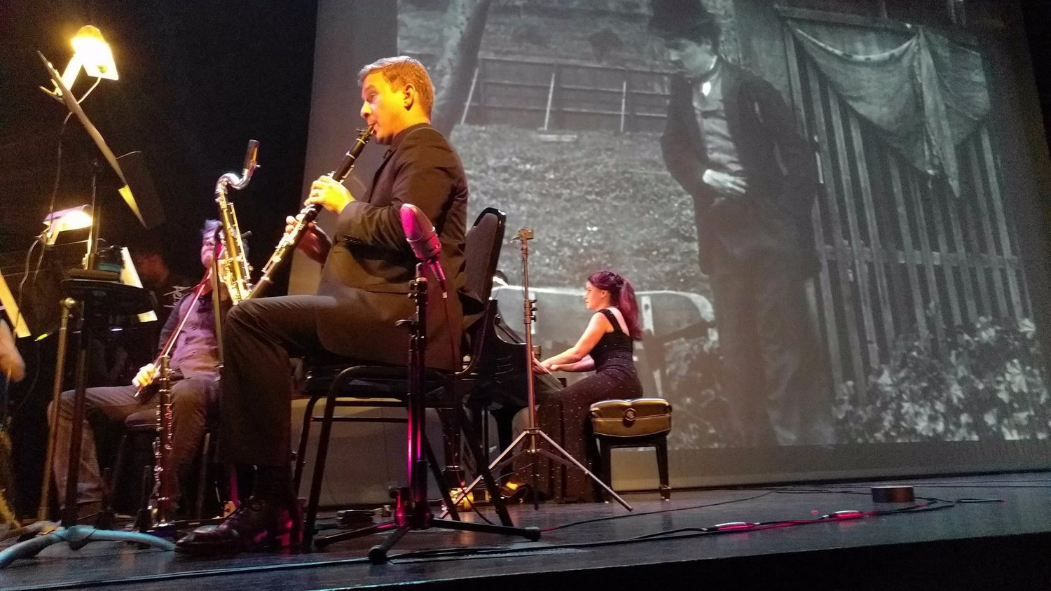 """Chamber Music on the Fox performs Hagen's score to """"The Tramp"""" as part of the Elgin Film Festival in September 2017."""