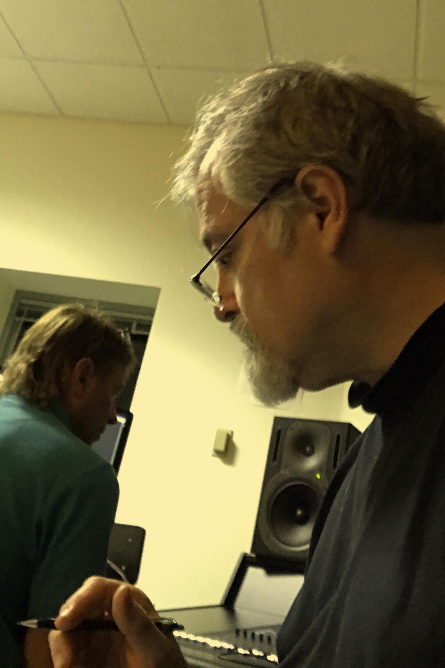 Hagen choosing takes. Engineer Chuck Foley mans the board.