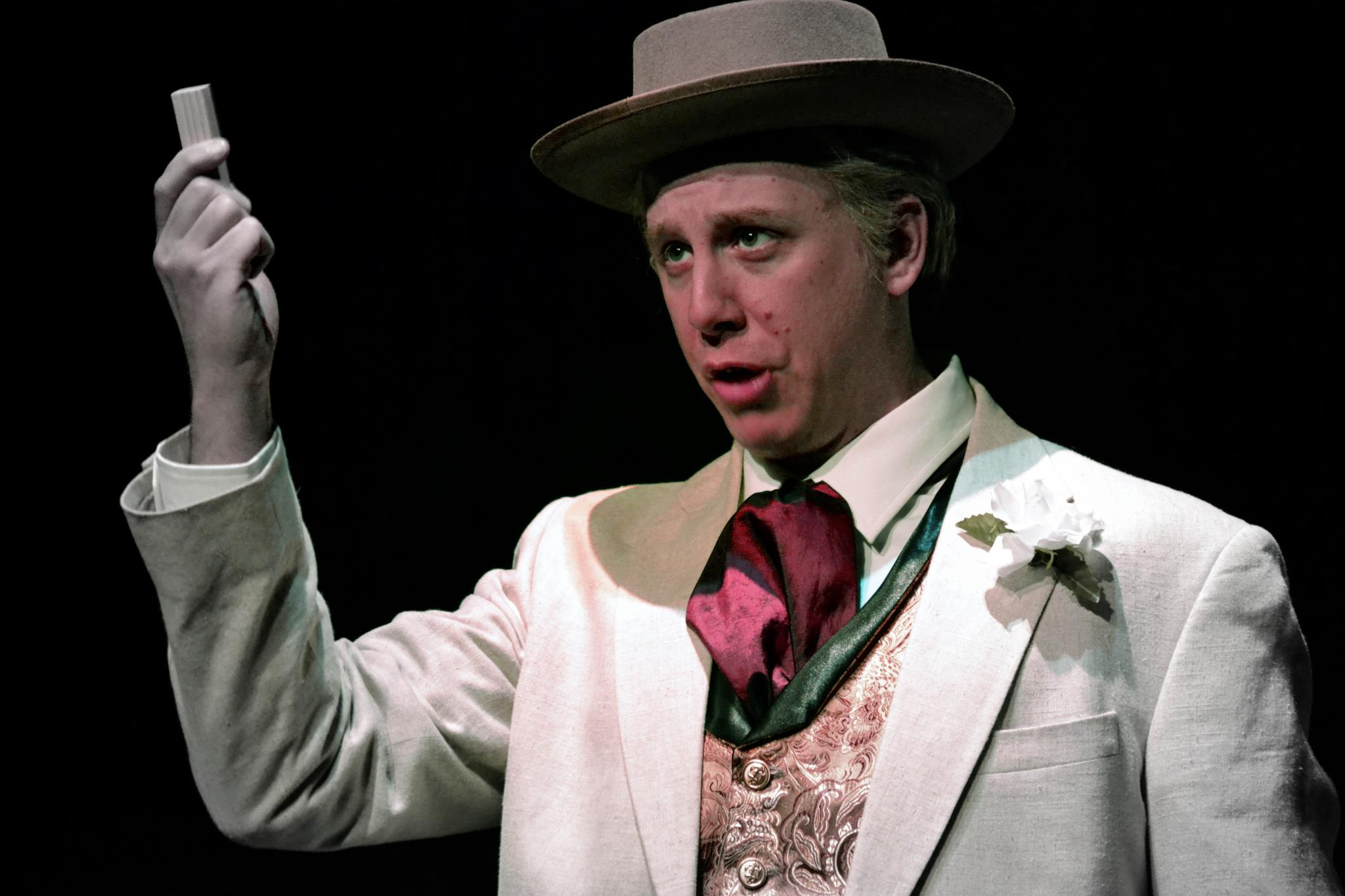 Kevin Kees as Frank Lloyd Wright in Opera Theater of Pittsburgh's Fallingwater production directed by Jonathan Eaton.