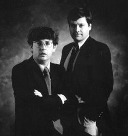 "Paul Muldoon and Daron Hagen photographed while composing ""Shining Brow"" in 1992."